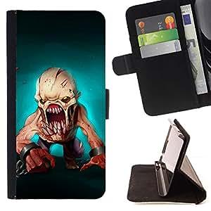 Scary Teal Monster Skull Halloween - Modelo colorido cuero de la carpeta del tirón del caso cubierta piel Holster Funda protecció Para Sony Xperia Style T3