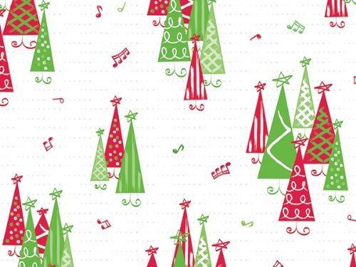Pack Of 1, 40'' X 100' 1.0 Mil Rockin Trees Christmas Print Cello Rolls Made In USA by Generic