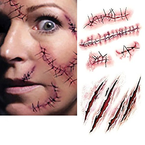 Zombie Costumes For Adults (Halloween Costume Zombie Scars Tattoos Linkspe Costume Makeup Sticker 2 Pack)