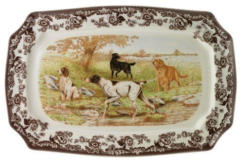 Spode Woodland Hunting Dogs Rectangular Platter by Spode