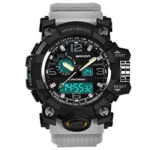 Sport Watch,Han Shi Luxury Electronic Waterproof Cold Light Casual Wristwatch (Gray, M)