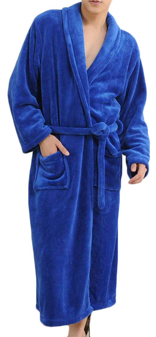 Cromoncent Men Long Sleeve Thicken Fleece Belt Pocket Casual Pajama Sleep Robe Blue M