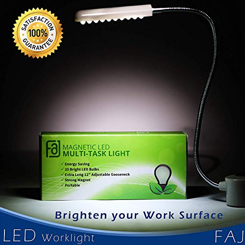 """Magnetic Multi-Task LED Light with 20 Daylight LEDs – 12"""" Mount-Anywhere Flexible Gooseneck Work Lamp with Magnet Base for Crafts, Sewing, Workbench"""