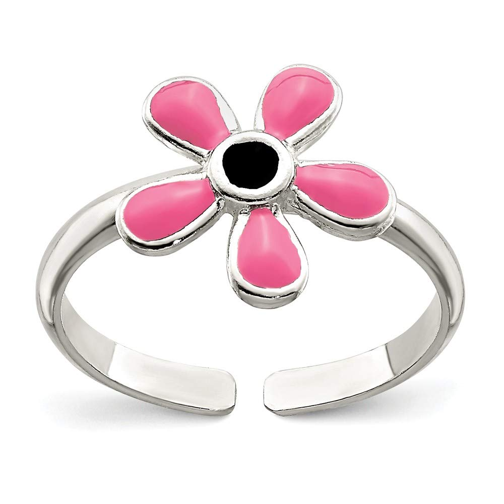 FB Jewels Solid 925 Sterling Silver Pink Enameled Floral Toe Ring