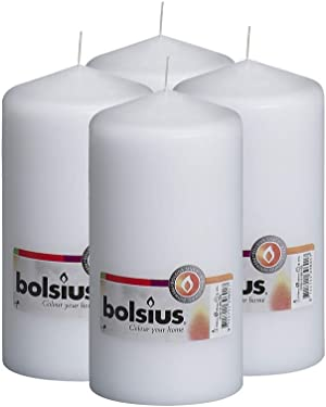 BOLSIUS Set of 4 White Unscented Dripless Pillar Candles- Clean Burning Smokeless Dinner Candles for Wedding & Home Decor Party Restaurant Spa- Aprox 3