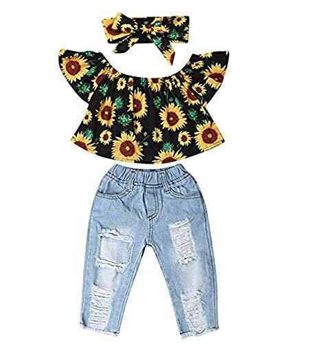 (Newborn Kids Baby Girls Off Shoulder Tops Ruffle Sleeve Denim Long Pants Outfits Set Toddler Clothes (Sunflowers, 12-18M) )