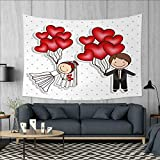 Anniutwo Wedding Art Wall Decor Funny Cute Cartoon Style Newlyweds with Heart Shaped Balloons Dots Happiness Tapestry Wall Tapestry W60 x L51 (inch) Red White Black