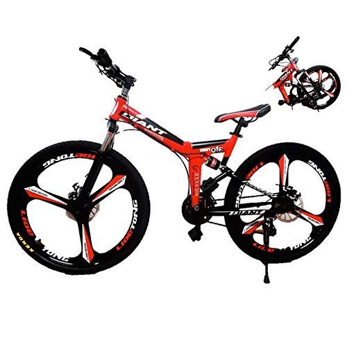 EGO TECHNOLOGY Bicicleta Plegable 26´ Doble Suspension Shimano Montaña Ciclismo de Montaña (Rojo)