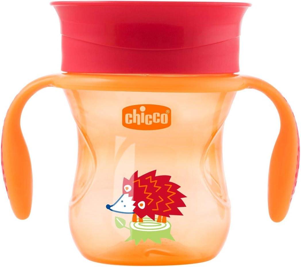 Chicco Perfect 360 - Vaso con membrana de silicona anti goteó, color verde y rojo