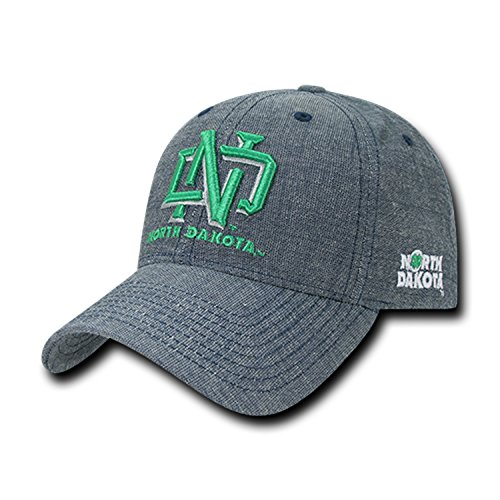 University of North Dakota UND Fighting Sioux Cotton Washed Denim Structured Baseball Ball Cap Hat (Apparel Fighting Sioux Dakota North)