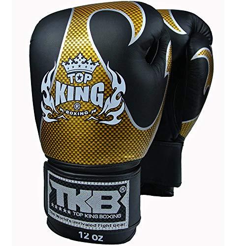 Top King Muay Thai Boxing Gloves TKBGEM Empower MMA UFC Kick Boxing K1 Training Punching Gloves (Black/Gold, 14 oz)