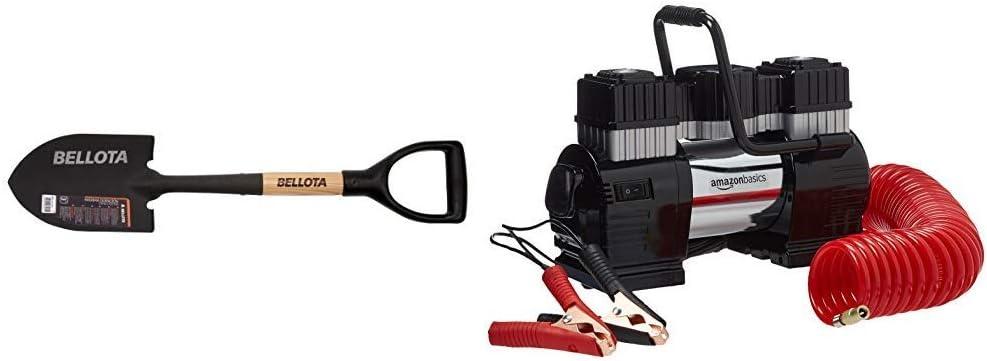 Bellota 5526 Pala pequeña para camping, jardin o nieve 150x210mm + AmazonBasics Compresor de aire portátil con pinza doble de batería, con estuche de transporte: Amazon.es: Jardín