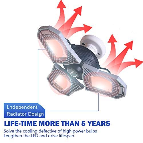 Garage Lighting,E26 Led Bulb 6000LM,Led Garage Ceiling Lights,led Garage Lights,Garage Light Bulb,led Bulb for Garage,led Shop Light,Workshop Light (Daylight, 60w''Standard'') (60w''Standard'' Daylight) by LifeLUX (Image #4)