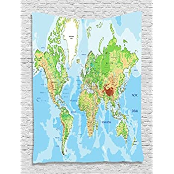 map tapestry world map print educational earth ocean journeys voyager tapestry wall hanging for teens