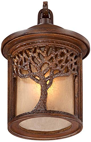 Rustic Outdoor Wall Light Fixture Bronze 9 1/2'' Tree Etched Glass Sconce for Exterior House Deck Patio Porch Lighting - John Timberland by John Timberland (Image #6)