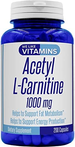 Acetyl L-Carnitine 1000mg Per Serving 200 Capsules – 100 Day Supply – Acetyl l carnitine Supplement Helps Support Natural Energy, Cognitive and Nervous System