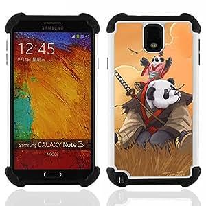 """SAMSUNG Galaxy Note 3 III / N9000 / N9005 - 3 en 1 impreso colorido de Altas Prestaciones PC Funda chaqueta Negro cubierta gel silicona suave (Samurai Panda"""")"""