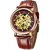 TSS Men's T5018Z1 Automatic Skeleton Watch with Leather Band