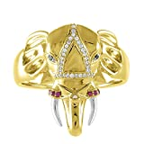 18K Yellow Gold 0.20 Carat(CTW) Real Natural White Diamond & Color Stone Elephant Ring for Men