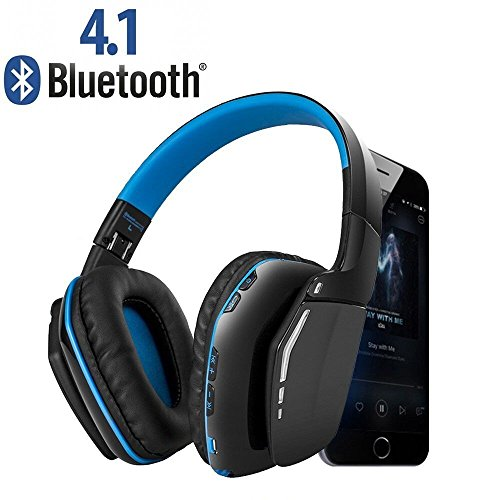 Wireless Gaming Headset, Weton V4.1 Bluetooth Overhead Headphones with Microphone for PC/ PS4/Xbox One/iPhone/Android Smartphones Computers(Blue)