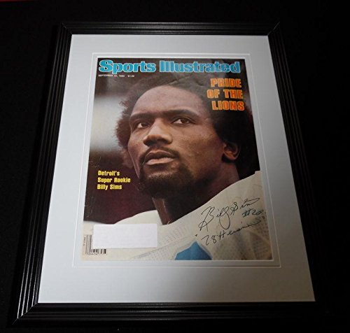 Billy Sims Signed Framed 1980 Sports Illustrated Magazine Cover Display Lions - Autographed NFL Magazines