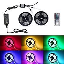 Badalink LED Strip Lights, Waterproof 2X5M Band Light Decoration Lamp with Color 300 leds RGB with 44 Keys Wireless Remote Controller and Plug-in Power Supply for Car,Camper,Kitchen Outdoor&Indoor