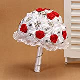 Hestian 8.6'' Luxury DIY Handmade Romantic Silk Roses with Different Styles of Rhinestone Wedding Bouquet Come with a Headdress As a Gift (red)