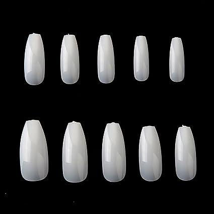 Puntas de Uñas Postizas de Stiletto, Leegoal Ballerina Natural Coffin uñas de cubierta completa falsas