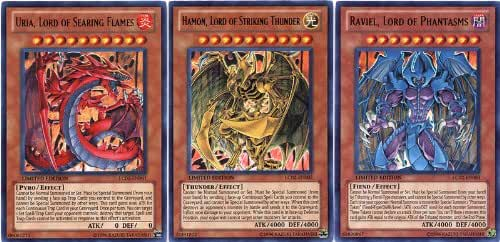 YuGiOh GX Legendary Collection 2 Single Card Ultra Rare Set of the 3 Sacred Beast Cards Uria, Hamon Raviel