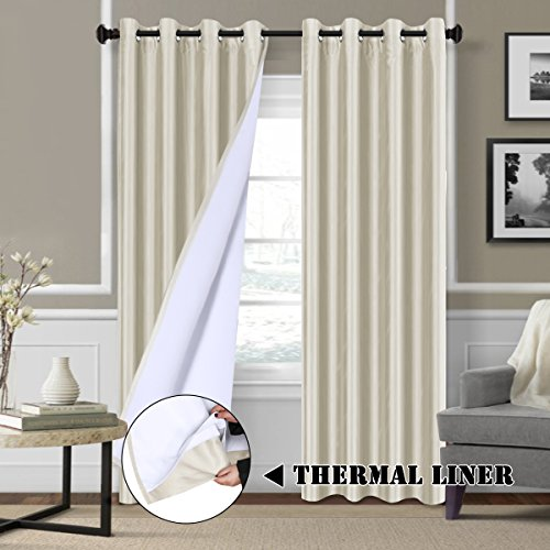 H.VERSAILTEX Full Blackout Curtains for Bedroom Dupioni Faux Silk Lined Curtains for Living Room - Thermal Insulated & Energy Efficiency, Nickel Grommet Privacy Assured 84 Inches Long, Ivory - Ivory Lined Curtains