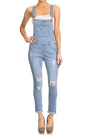 61498b585a0 SALT TREE Women s EnJean Skinny Washed Out Distressed Denim Overall Pants