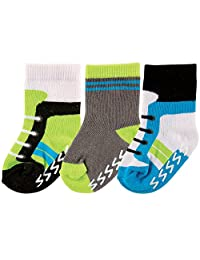 Luvable Friends 3-Pack Non Skid Shoe Socks, Lime and Blue, 6-12 Months