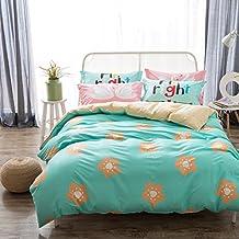 100% Cotton 3-Piece Beautiful Floral Printed Duvet Cover Sets for Girls (1 Duvet Cover + 1 Flat Sheet + 1 Pillowcase), MAXYOYO Teen Girls Duvet Quilt Cover Twin Size