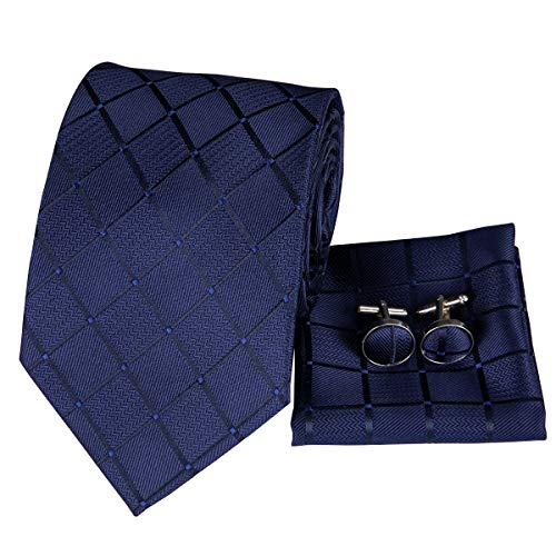 Hi-Tie Men Navy Blue Check Plaid Tie Pocket Square and Cufflinks Tie Set for Men