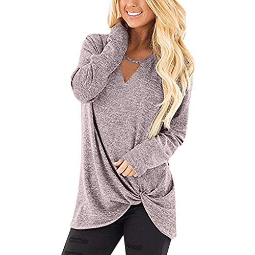 Casual-T-Shirt-for-Womens-Cold-Shoulder-Short-Long-Sleeve-Sleeveless-Knot-Front-Tunic-Top-LIMShop-Blouse