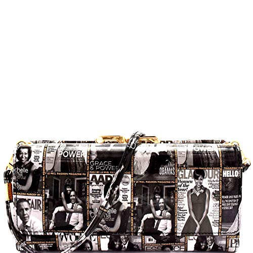 Magazine Cover Michelle Obama Smartphone Friendly Wallet Cross Body Bag Messenger Small Envelope Clutch (Kiss-lock Compartment Design - Black/White)