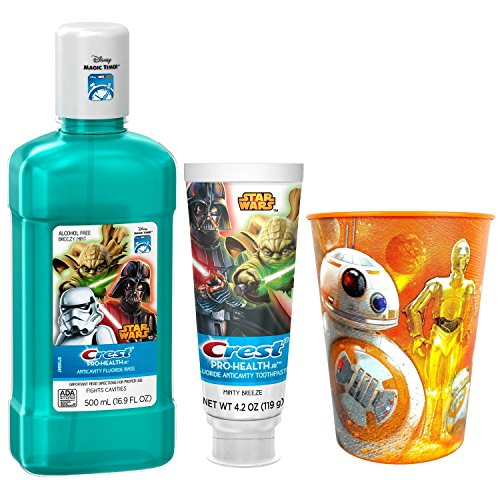 Star Wars Toothpaste & Mouthwash Bundle: 3 Items; Anticavity Rinse, Fluoride Toothpaste, BB-8 Kids Rinse Cup
