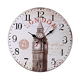 Londony ◐‿◑ Round Wall Clock,Arabic Numerals Design Rustic Country Tuscan Style Wooden Decorative Round Wall Clock