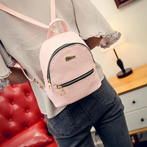 Preppy Shoulder Backpack Pink Leegor Handbag Bag Casual Travel Style Waterproof Women gw56x6Cnq