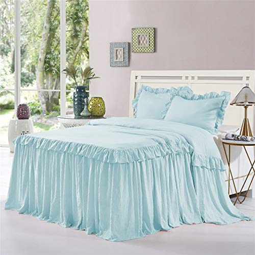 HIG 3 Piece Ruffle Skirt Bedspread Set King-Aqua Color 30 inches Drop Ruffled Style Bed Skirt Coverlets Bedspreads Dust Ruffles- Alina Bedding Collections King Size-1 Bedspread, 2 Standard Shams