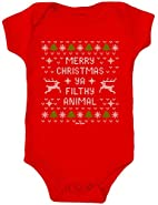 Daft Baby Ugly Christmas Sweater Onesie Baby's First Christmas clothes bodysuit