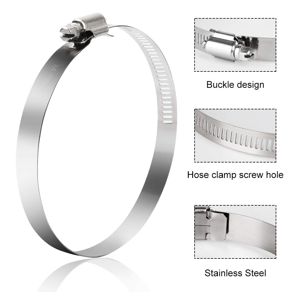 Pack of 4 Omont 4 Inch Adjustable Stainless Steel Duct Clamps Air Ducting Clamps Hose Clamps Pipe Clamps Worm Drive Hose Clamps