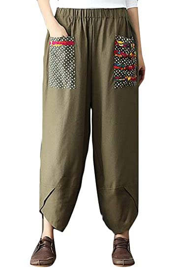 c6d776866a4 KLJR Women Chinese Style Loose Cotton Linen Elastic Waist Harem Pants with  Pockets at Amazon Women s Clothing store