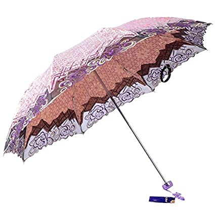 Paraguas plegable automatico Mujer niño Hombre an- Bordado Plegable del cordón del Paraguas - protección