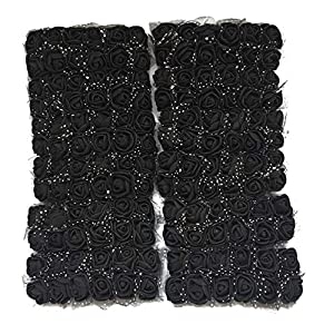 Charmly Mini Fake Rose Flower Heads 144pcs Little Artificial Roses DIY Flowers Accessories Home Wedding Party Craft Art Decor Bottom add Gauze Black 59