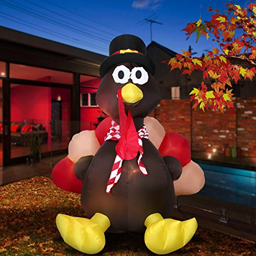 6 Foot Thanksgiving Inflatable Turkey, YUNLIGHTS Lighted Air Blown Inflatable Turkey with Pilgrim Hat Perfect Thanksgiving Autumn Decorations by YUNLIGHTS (Image #1)