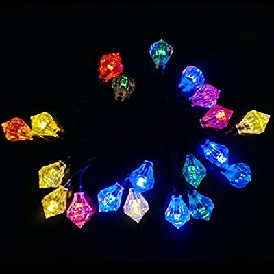 LED SopoTek 4.8meters 20Led bulbs Solar powered Christmas Fairy String Lights Diamond Shaped Waterproof Outdoor Ideal for Patio Garden Lawn Gate Yard (20LED Multi-colored)