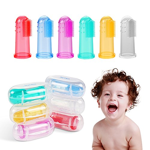 Price comparison product image Baby Finger Toothbrush (6 PCS), Tinabless Baby Food Grade Silicone Toothbrush With Case Set for Infant &Toddlers,  Toothbrush Teether