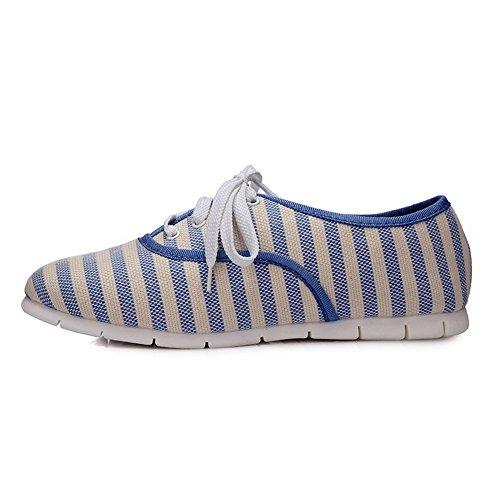 Assortito Colore Allacciare Tacco Ballet flats Basso Voguezone009 Azzurro Donna Tessuto 5XYwxfq