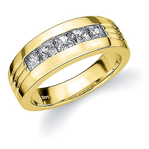 (14K Yellow Gold 5 Diamond Princess Cut Ring (.50 cttw, E-F Color, VVS1-VVS2 Clarity) Size 5.5)